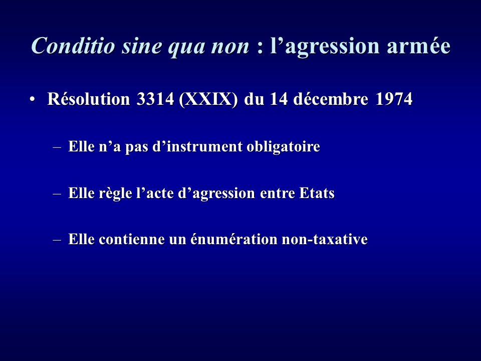 Conditio sine qua non : lagression armée La jurisprudence de la CIJLa jurisprudence de la CIJ « 195.