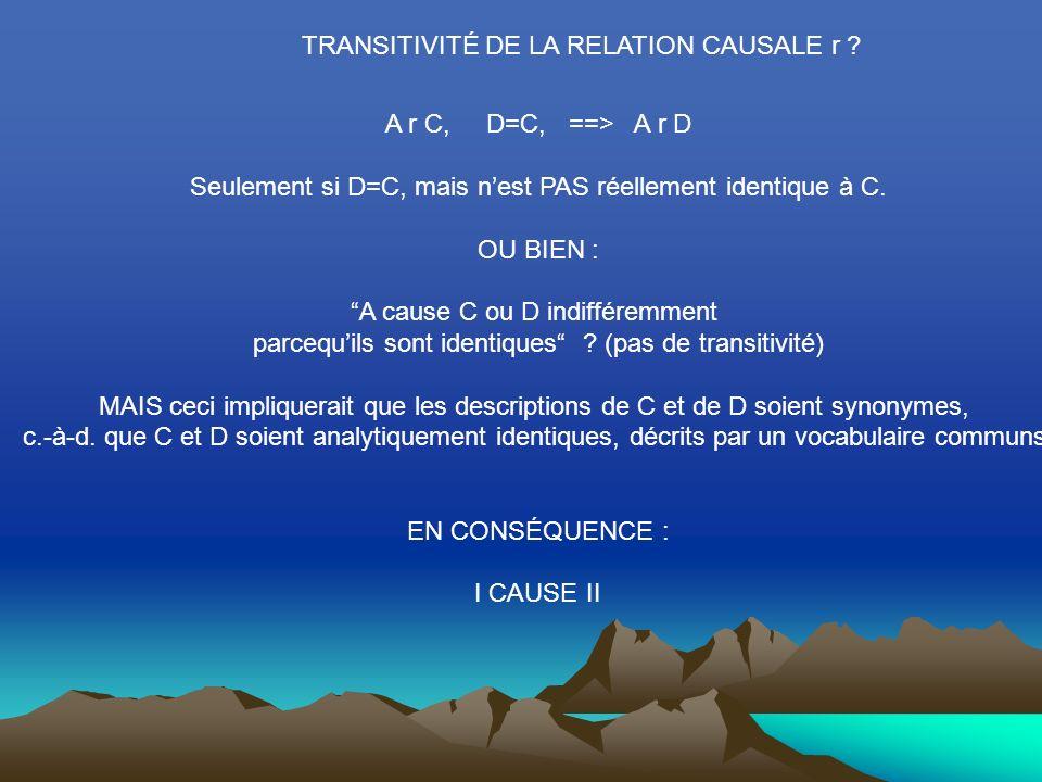 TRANSITIVITÉ DE LA RELATION CAUSALE r .