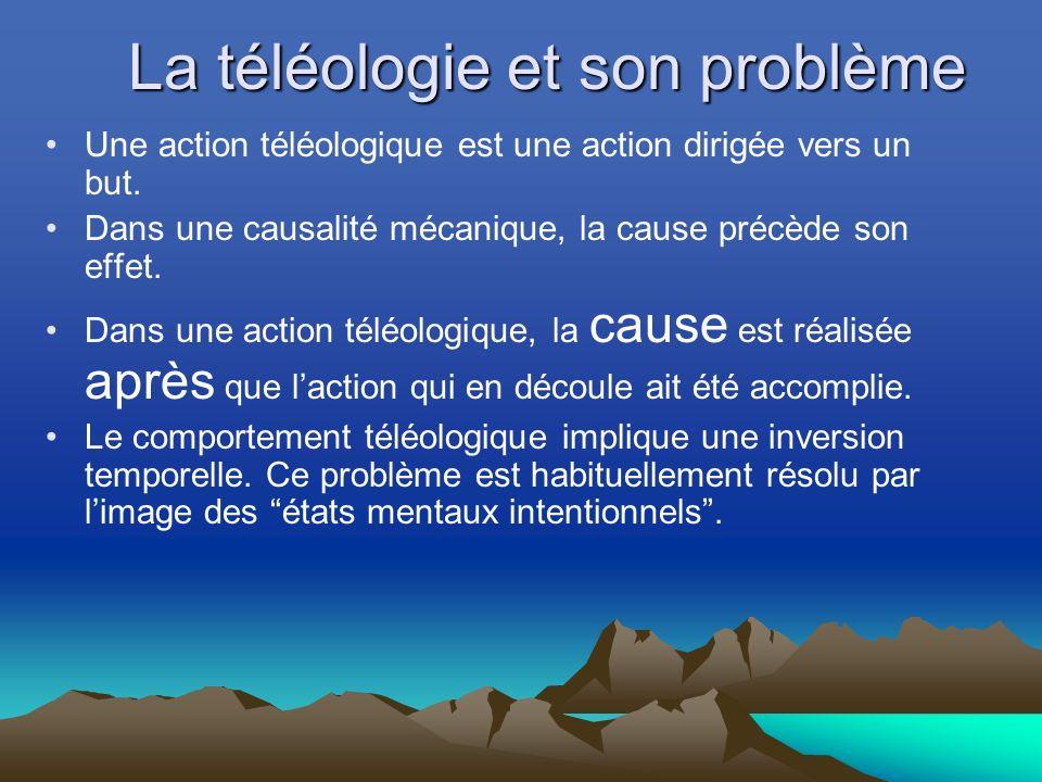 La téléologie et son problème Une action téléologique est une action dirigée vers un but.