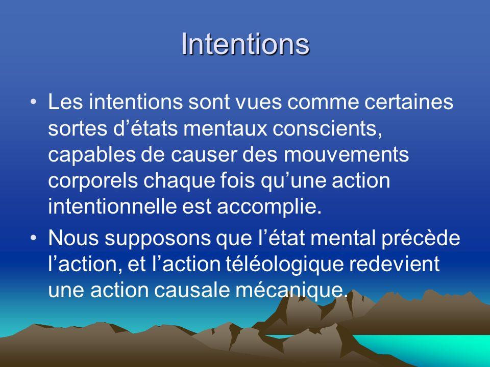 Intentions Les intentions sont vues comme certaines sortes détats mentaux conscients, capables de causer des mouvements corporels chaque fois quune action intentionnelle est accomplie.