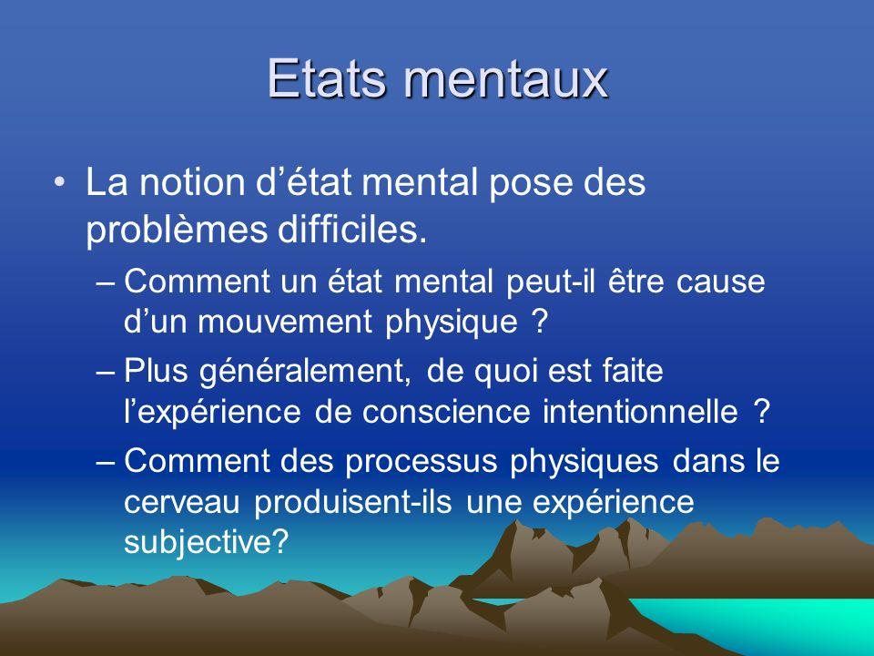 Etats mentaux La notion détat mental pose des problèmes difficiles.