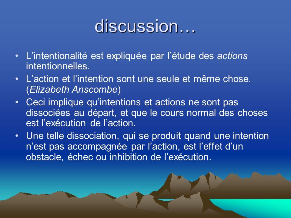 discussion… Lintentionalité est expliquée par létude des actions intentionnelles.