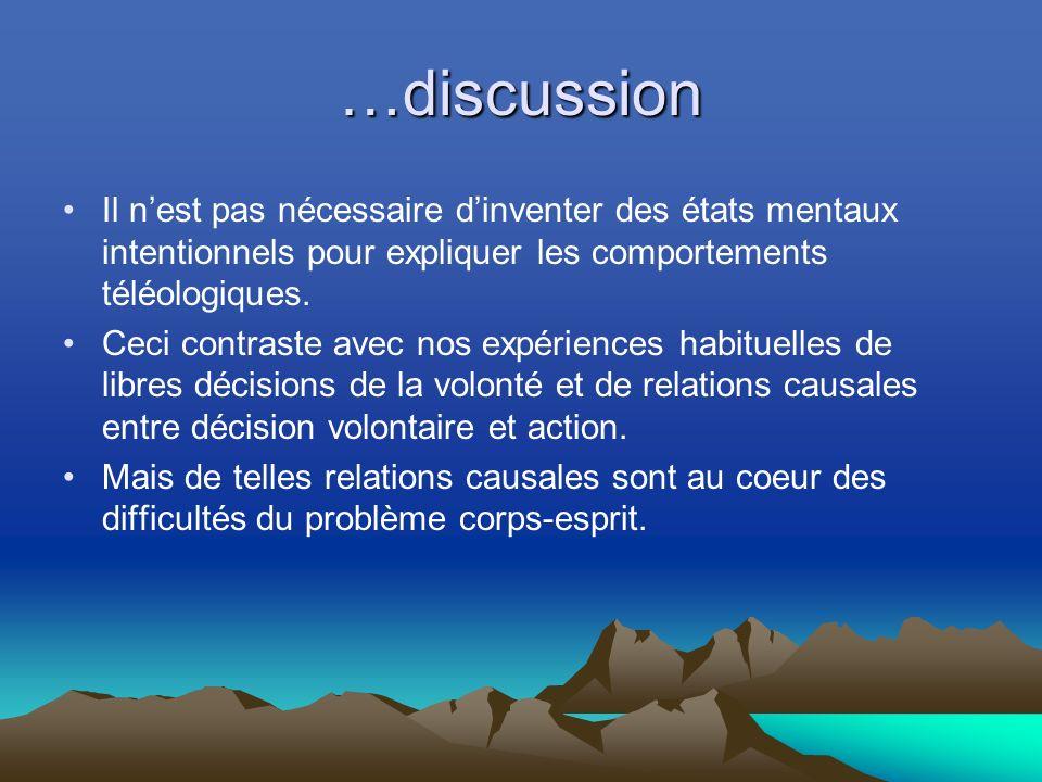 …discussion Il nest pas nécessaire dinventer des états mentaux intentionnels pour expliquer les comportements téléologiques.