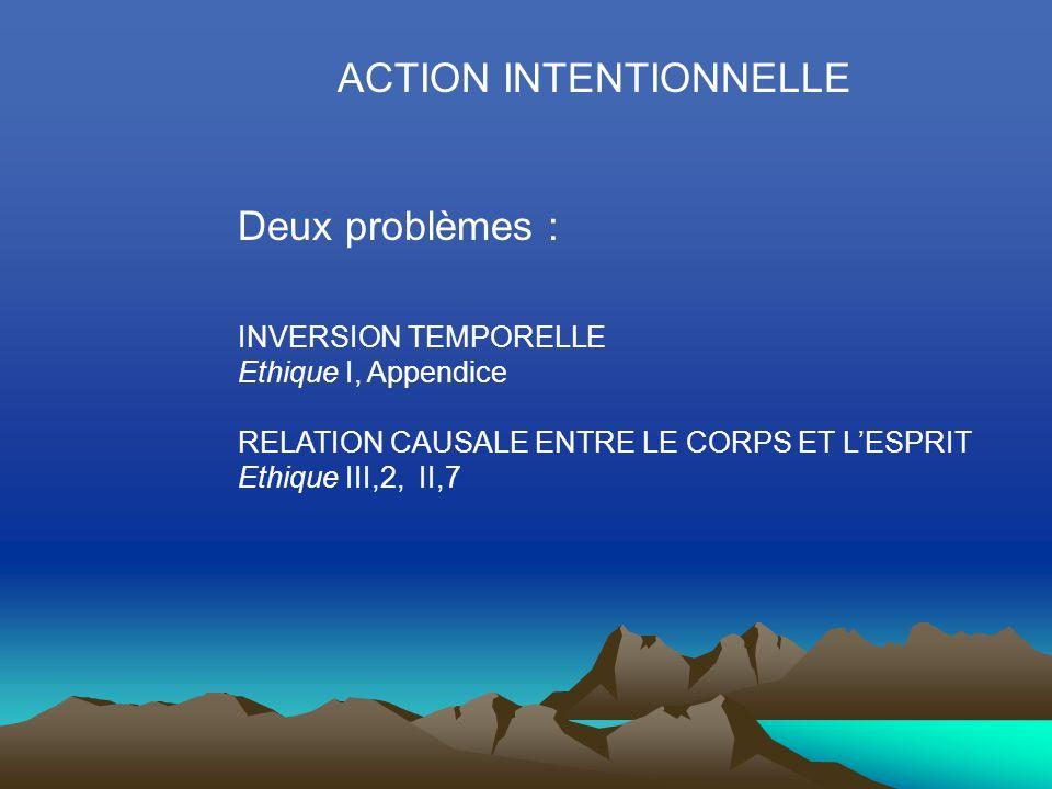 ACTION INTENTIONNELLE Deux problèmes : INVERSION TEMPORELLE Ethique I, Appendice RELATION CAUSALE ENTRE LE CORPS ET LESPRIT Ethique III,2, II,7