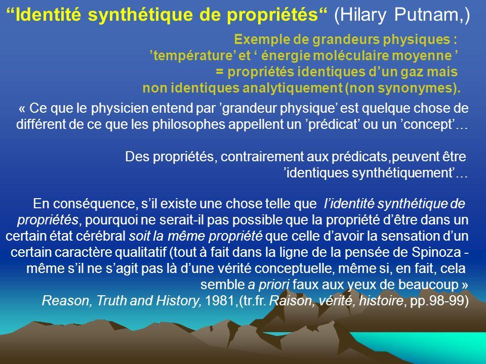 Identité synthétique de propriétés (Hilary Putnam,) Exemple de grandeurs physiques : température et énergie moléculaire moyenne = propriétés identiques dun gaz mais non identiques analytiquement (non synonymes).