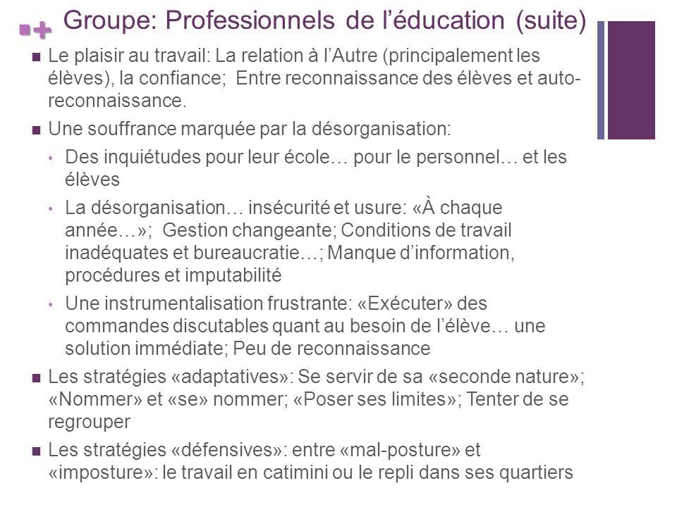 + Groupe: Professionnels de léducation (suite) Le plaisir au travail: La relation à lAutre (principalement les élèves), la confiance; Entre reconnaissance des élèves et auto- reconnaissance.
