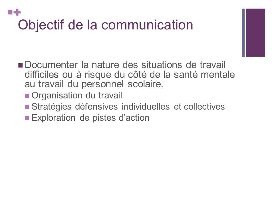 + Objectif de la communication Documenter la nature des situations de travail difficiles ou à risque du côté de la santé mentale au travail du personnel scolaire.