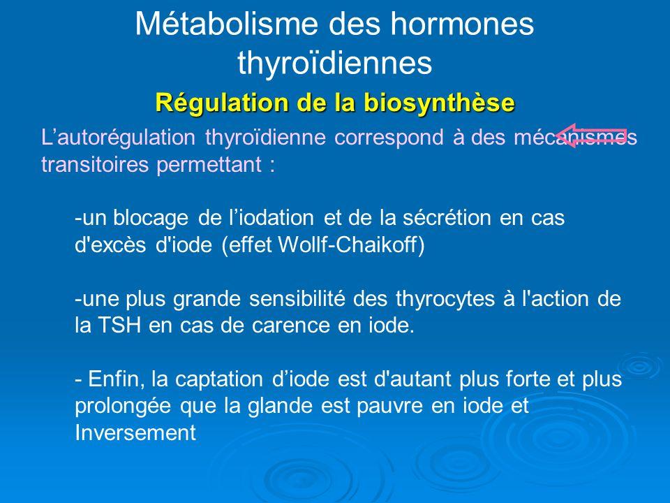 Métabolisme des hormones thyroïdiennes Régulation de la biosynthèse Lautorégulation thyroïdienne correspond à des mécanismes transitoires permettant : -un blocage de liodation et de la sécrétion en cas d excès d iode (effet Wollf-Chaikoff) -une plus grande sensibilité des thyrocytes à l action de la TSH en cas de carence en iode.