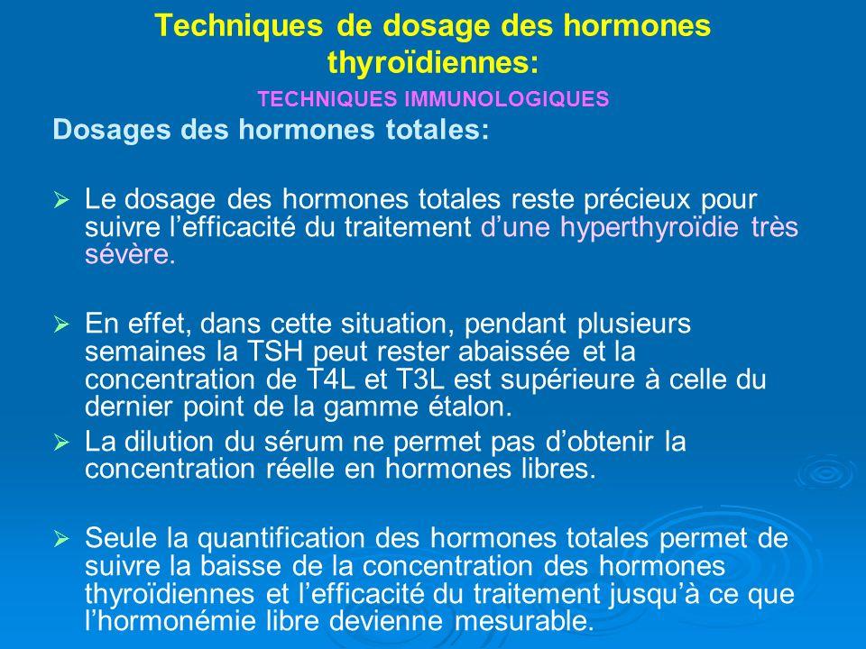 Techniques de dosage des hormones thyroïdiennes: TECHNIQUES IMMUNOLOGIQUES Dosages des hormones totales: Le dosage des hormones totales reste précieux