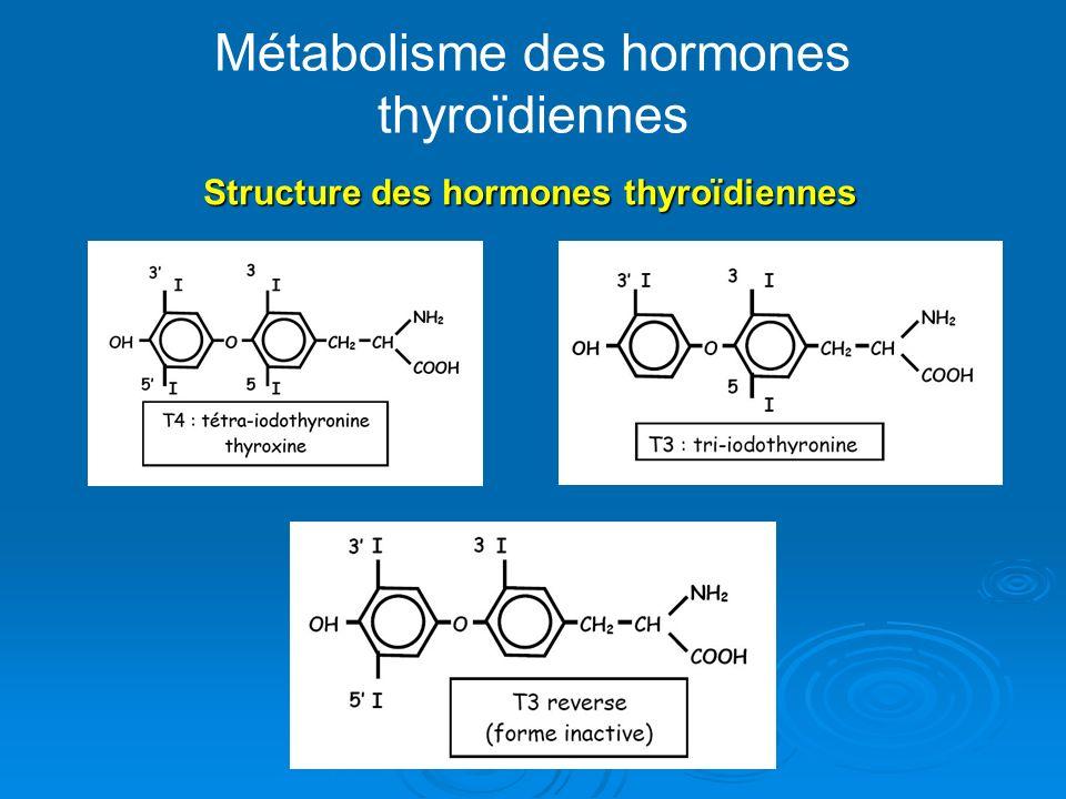 Métabolisme des hormones thyroïdiennes Structure des hormones thyroïdiennes Structure des hormones thyroïdiennes