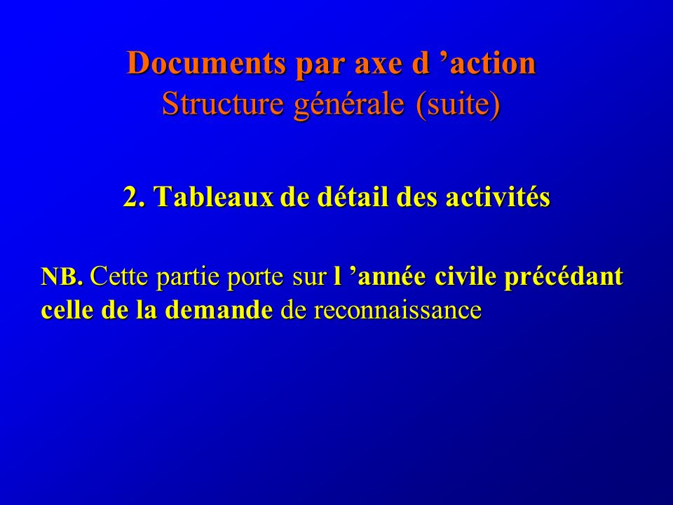 Documents par axe d action Structure générale (suite) 2.