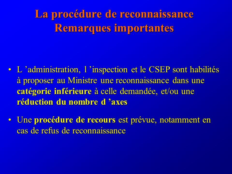 La procédure de reconnaissance Remarques importantes L administration, l inspection et le CSEP sont habilités à proposer au Ministre une reconnaissance dans une catégorie inférieure à celle demandée, et/ou une réduction du nombre d axesL administration, l inspection et le CSEP sont habilités à proposer au Ministre une reconnaissance dans une catégorie inférieure à celle demandée, et/ou une réduction du nombre d axes Une procédure de recours est prévue, notamment en cas de refus de reconnaissanceUne procédure de recours est prévue, notamment en cas de refus de reconnaissance