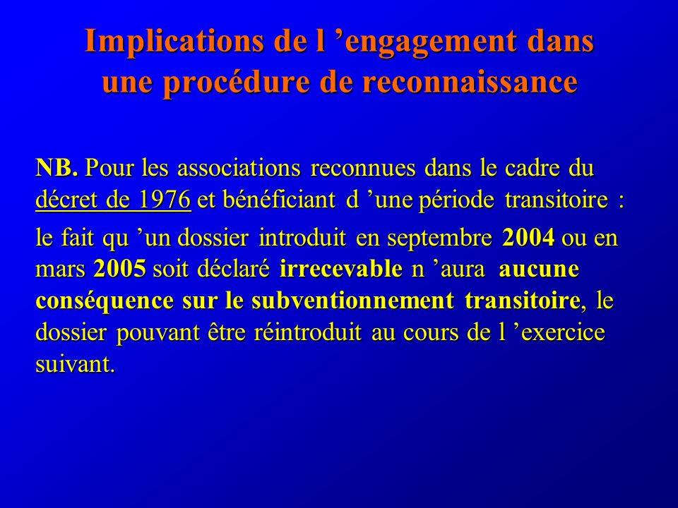 Implications de l engagement dans une procédure de reconnaissance NB.