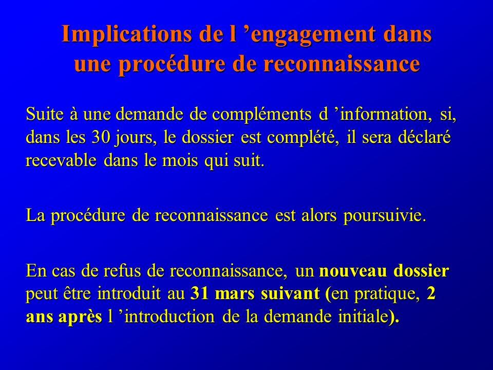 Implications de l engagement dans une procédure de reconnaissance Suite à une demande de compléments d information, si, dans les 30 jours, le dossier est complété, il sera déclaré recevable dans le mois qui suit.