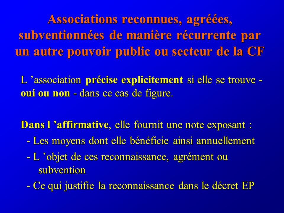 Associations reconnues, agréées, subventionnées de manière récurrente par un autre pouvoir public ou secteur de la CF L association précise explicitement si elle se trouve - oui ou non - dans ce cas de figure.