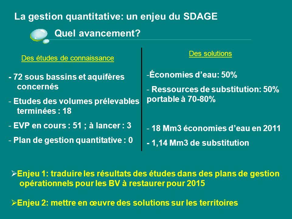 Etudes de volumes prélevables globaux Eaux superficielles Eaux souterraines Bilan de la mise en œuvre du PDM Restauration de léquilibre quantitatif