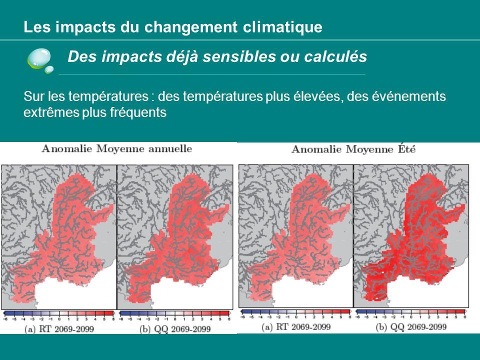 Les impacts du changement climatique Des impacts calculés: hypothèse +1 m niveau mer Carte des zones de submersion sur le littoral de Palavas-les- flots (Hérault) en 2100 avec une élévation du niveau de la mer de 1 mètre.