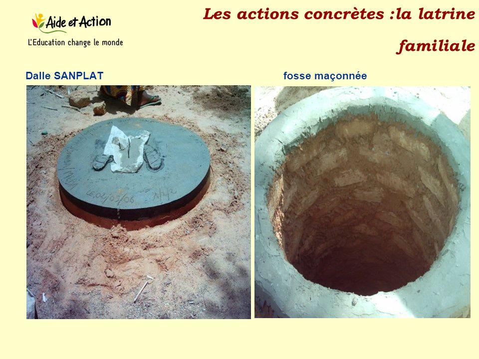 Les actions concrètes :la latrine familiale Dalle SANPLAT fosse maçonnée