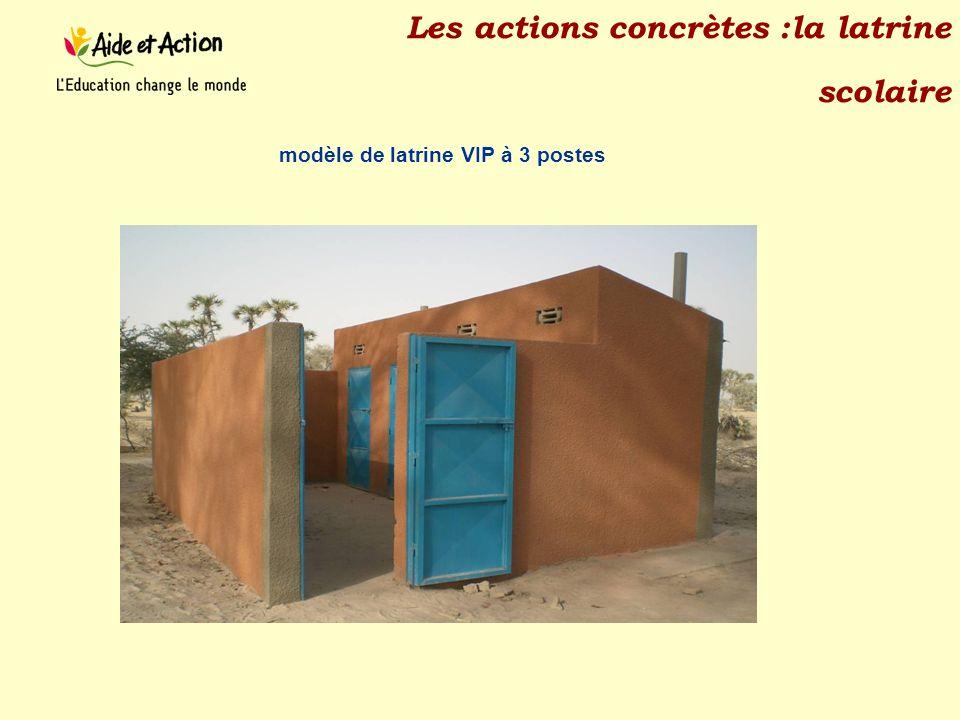Les actions concrètes :la latrine scolaire modèle de latrine VIP à 3 postes
