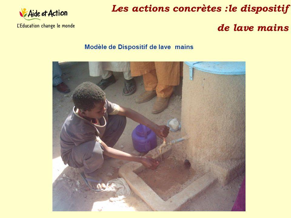 Les actions concrètes :le dispositif de lave mains Modèle de Dispositif de lave mains