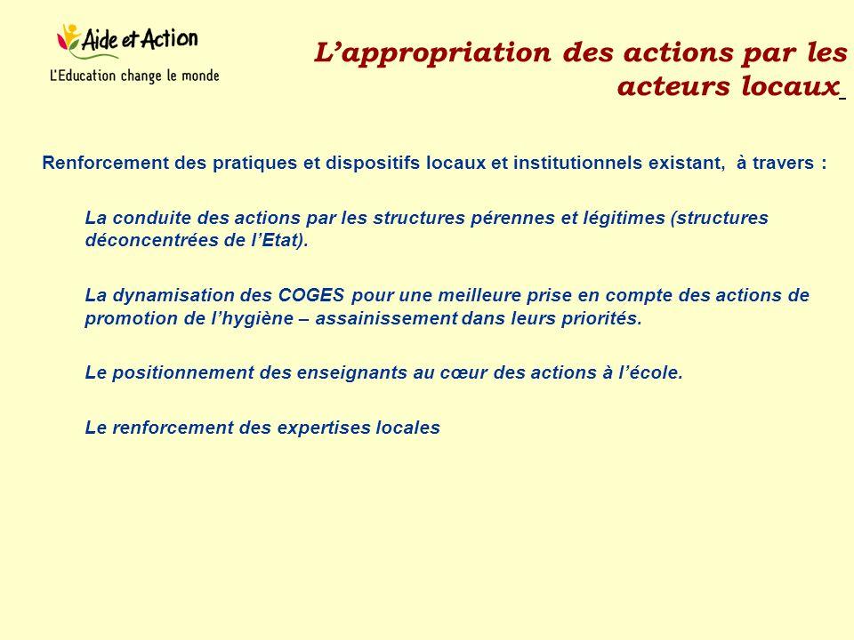 Lappropriation des actions par les acteurs locaux Renforcement des pratiques et dispositifs locaux et institutionnels existant, à travers : La conduit