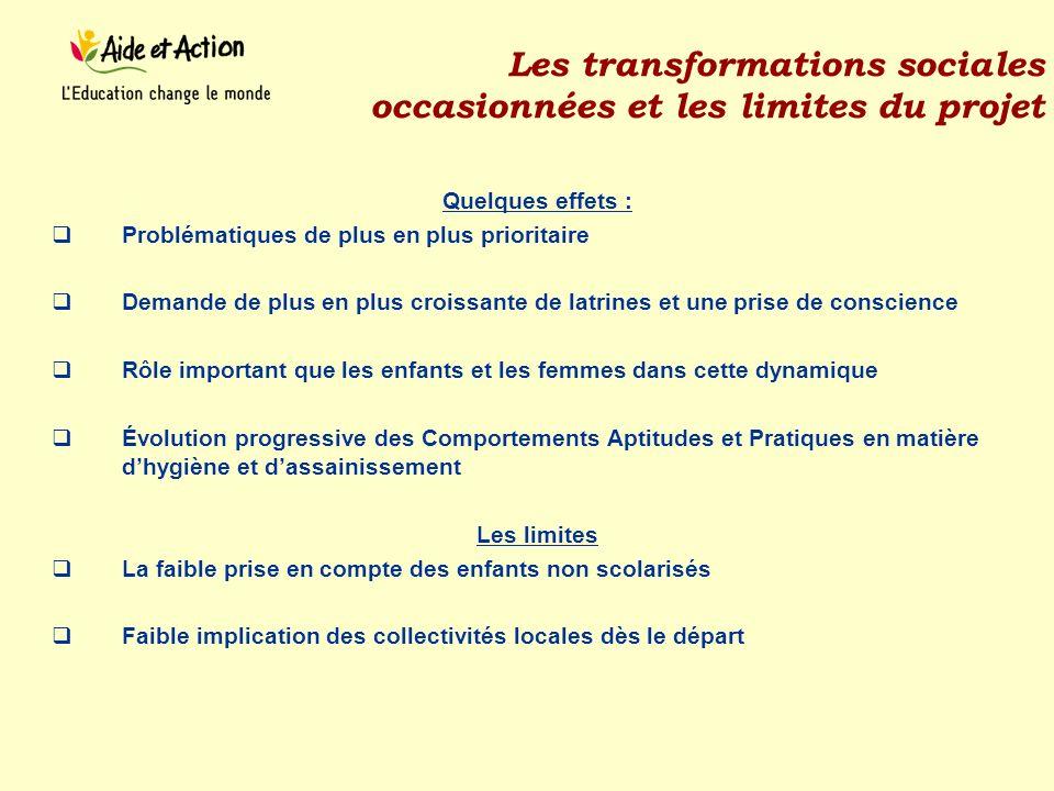 Les transformations sociales occasionnées et les limites du projet Quelques effets : Problématiques de plus en plus prioritaire Demande de plus en plu