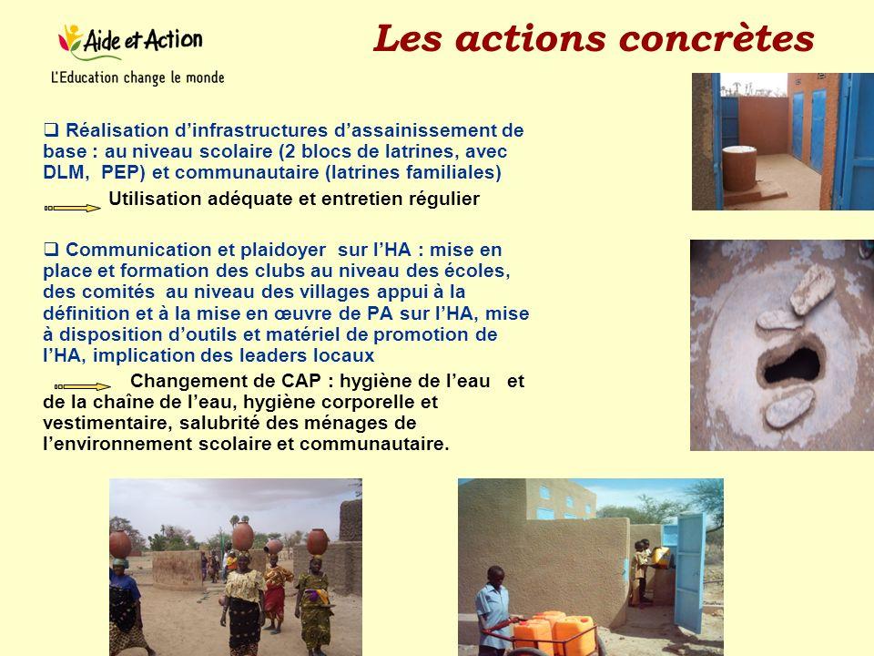 Les actions concrètes Réalisation dinfrastructures dassainissement de base : au niveau scolaire (2 blocs de latrines, avec DLM, PEP) et communautaire