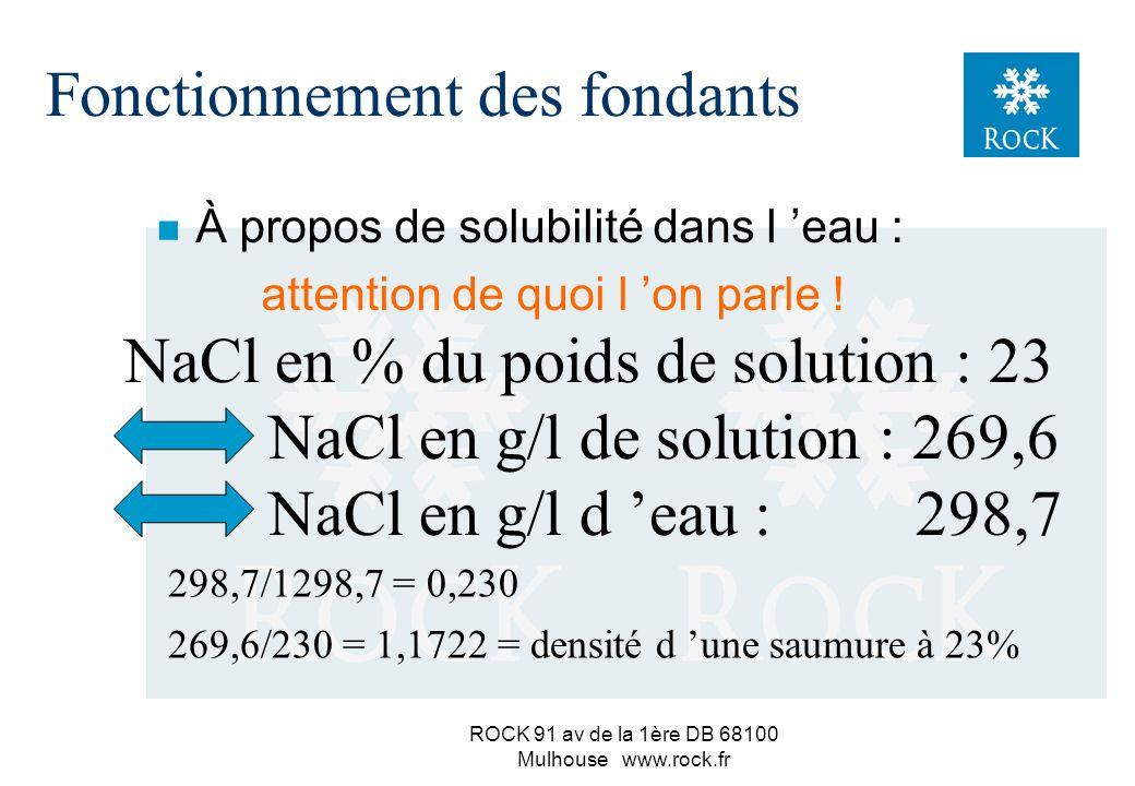 ROCK 91 av de la 1ère DB 68100 Mulhouse www.rock.fr n quelques propriétés du sel (résumé) (réelle = 2,24) Fonctionnement des fondants