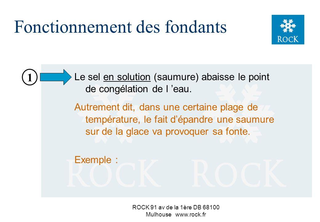 ROCK 91 av de la 1ère DB 68100 Mulhouse www.rock.fr n Rappel de quelques propriétés du sel n Actions et conséquences des fondants n Comportement du sel sur la chaussée : –le sel en grains –la saumure de chlorure de sodium –la bouillie de sel –la migaine Fonctionnement des fondants