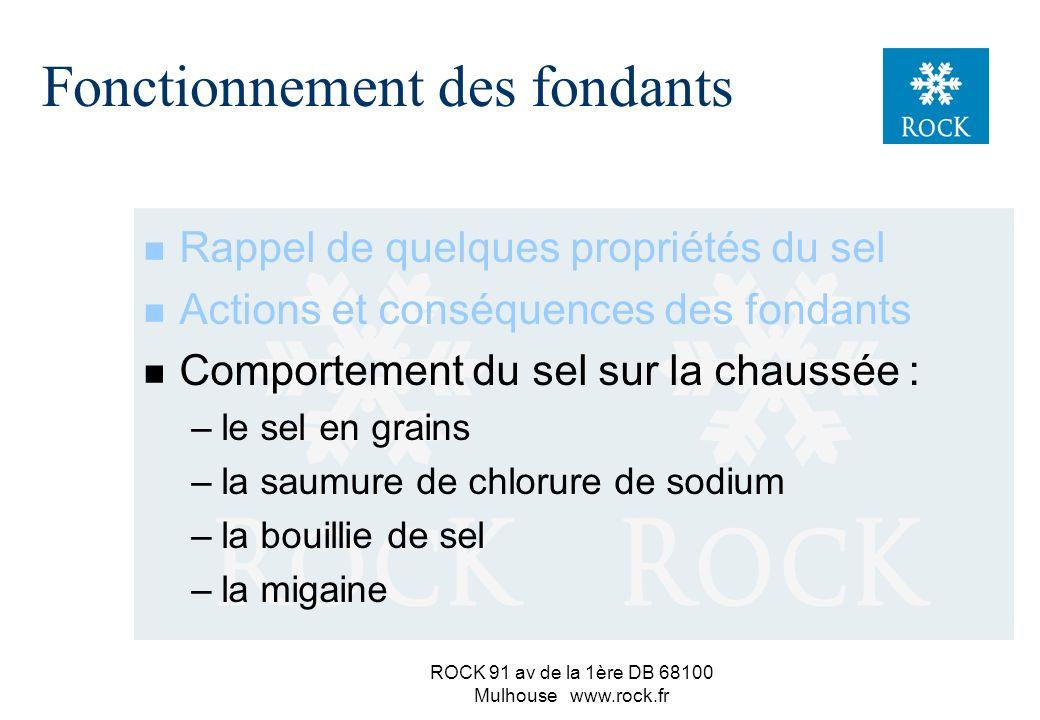 ROCK 91 av de la 1ère DB 68100 Mulhouse www.rock.fr ATTENTION ! Le sel n est pas une assurance tous risques ! Mieux connaître son action, c est : pren