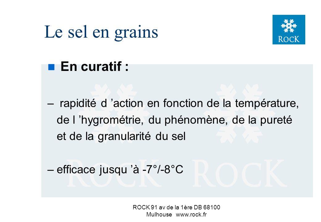 ROCK 91 av de la 1ère DB 68100 Mulhouse www.rock.fr n En préventif ou précuratif : –route sèche et HR < 75% => risques importants d élimination sous l