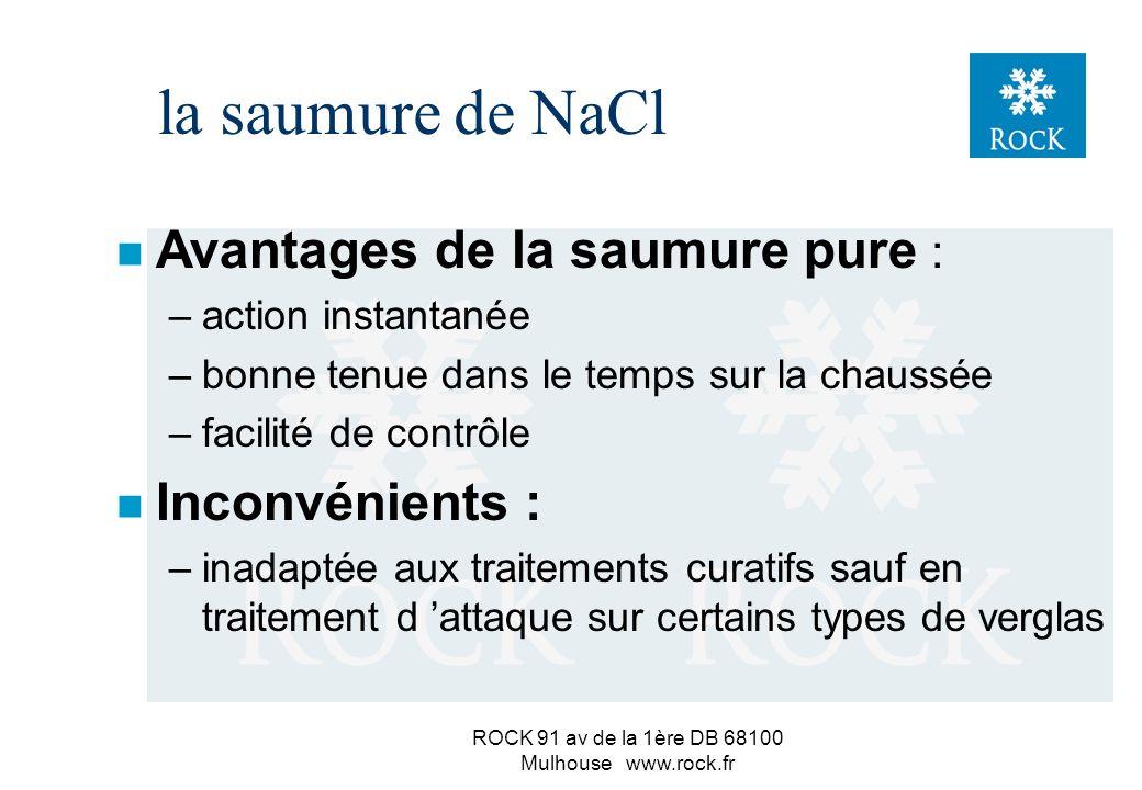 ROCK 91 av de la 1ère DB 68100 Mulhouse www.rock.fr la saumure de NaCl n En fonction de l hum. relat. de l air : –HR<HRE = air sec : => la saumure s é