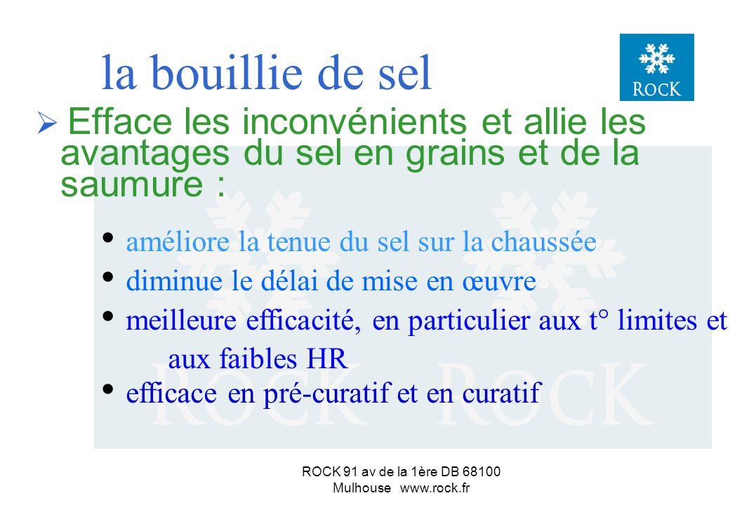 ROCK 91 av de la 1ère DB 68100 Mulhouse www.rock.fr En résumé... Le sel en grainsLa saumure Tenue de route en pré-curatif bonnemauvaise Vitesse d acti
