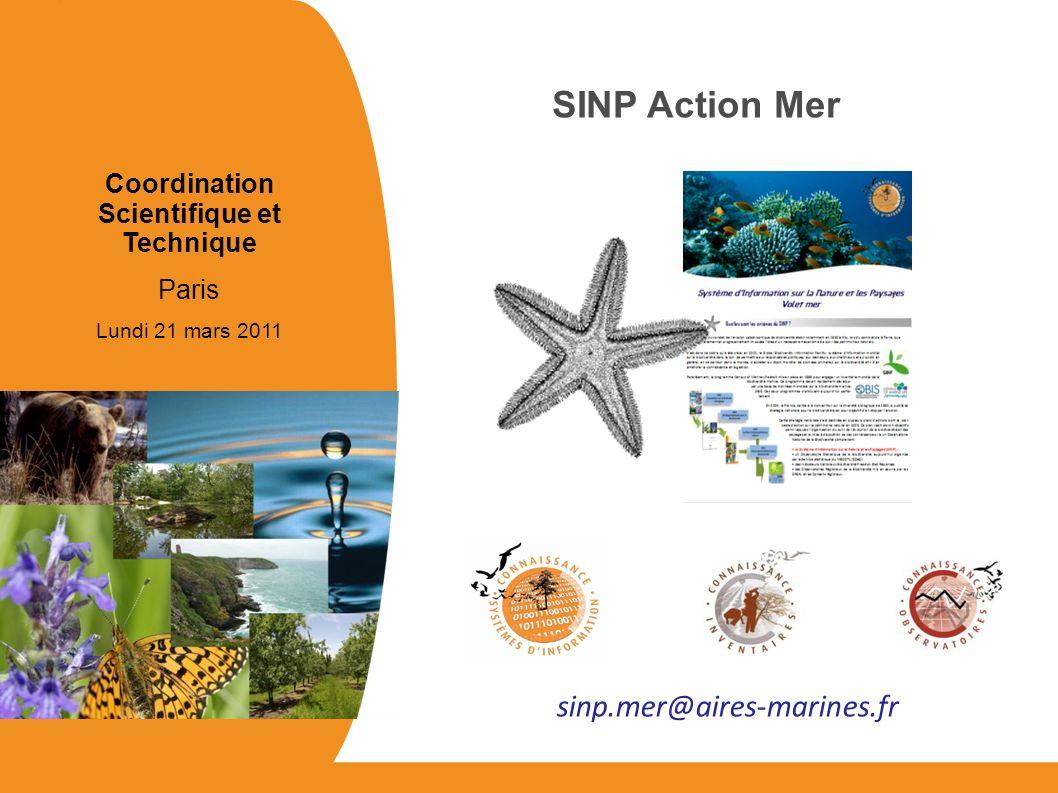 Coordination Scientifique et Technique Paris Lundi 21 mars 2011 SINP Action Mer sinp.mer@aires-marines.fr