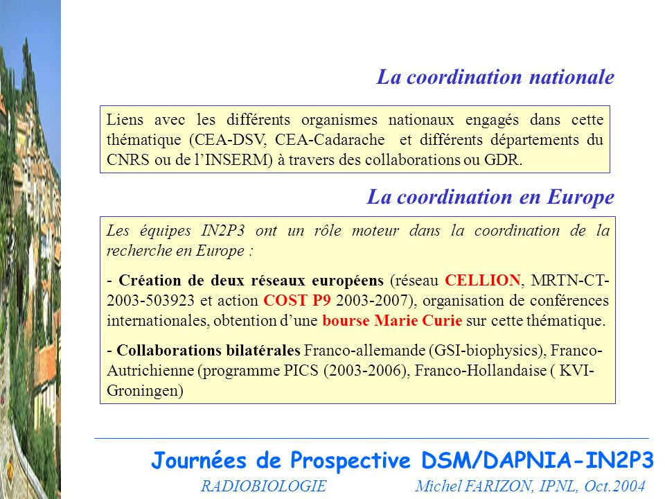 RADIOBIOLOGIE Michel FARIZON, IPNL, Oct.2004 Journées de Prospective DSM/DAPNIA-IN2P3 La coordination nationale La coordination en Europe Liens avec l