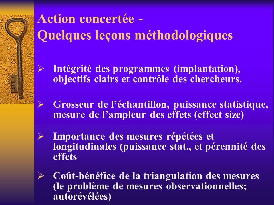 Action concertée - rappel des résultats Résultats immédiats (court terme 6 mois) Un impact saisissable dès lentrée au programme (meilleur rendement, m