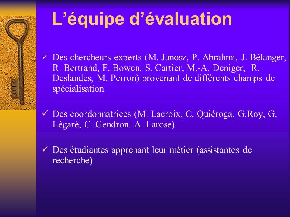 Léquipe dévaluation Des chercheurs experts (M.Janosz, P.
