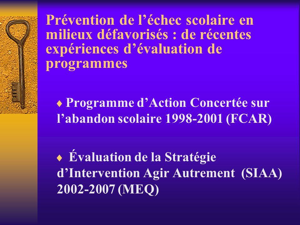 Prévention de léchec scolaire en milieux défavorisés : de récentes expériences dévaluation de programmes Programme dAction Concertée sur labandon scolaire 1998-2001 (FCAR) Évaluation de la Stratégie dIntervention Agir Autrement (SIAA) 2002-2007 (MEQ)
