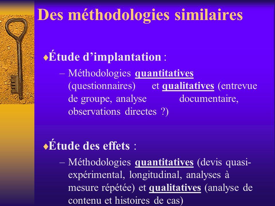 Objectifs communs Évaluer la qualité dimplantation des interventions Évaluer les effets : atteinte des objectifs et ampleur des effets Identifier les