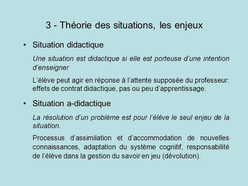 3 - Théorie des situations, les enjeux Situation didactique Une situation est didactique si elle est porteuse dune intention denseigner Lélève peut ag