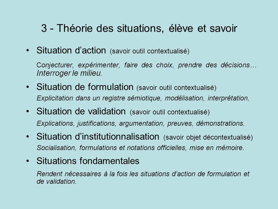 3 - Théorie des situations, élève et savoir Situation daction (savoir outil contextualisé) Conjecturer, expérimenter, faire des choix, prendre des déc