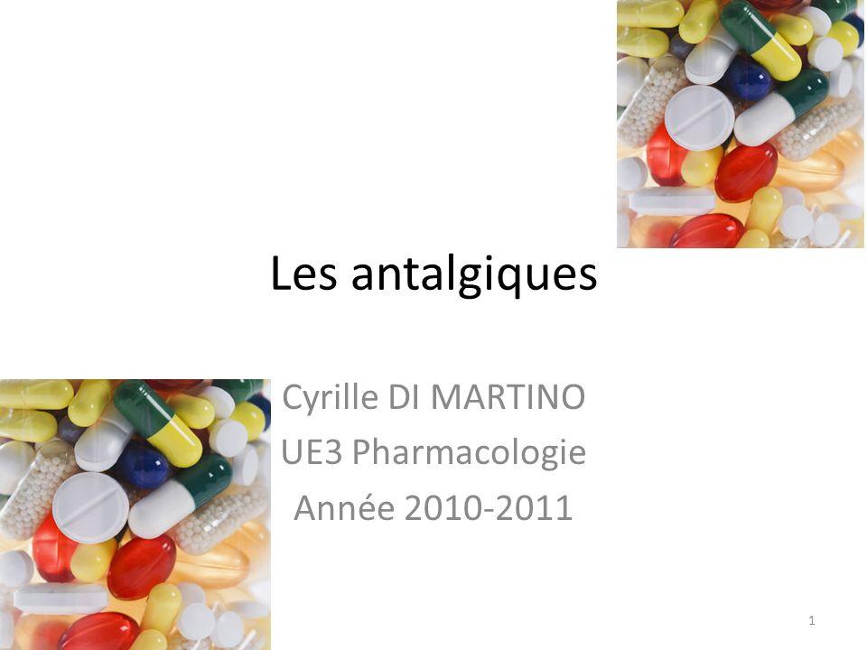 Les antalgiques Cyrille DI MARTINO UE3 Pharmacologie Année 2010-2011 1