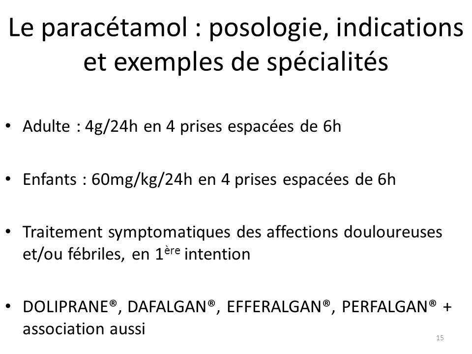 Le paracétamol : posologie, indications et exemples de spécialités Adulte : 4g/24h en 4 prises espacées de 6h Enfants : 60mg/kg/24h en 4 prises espacé
