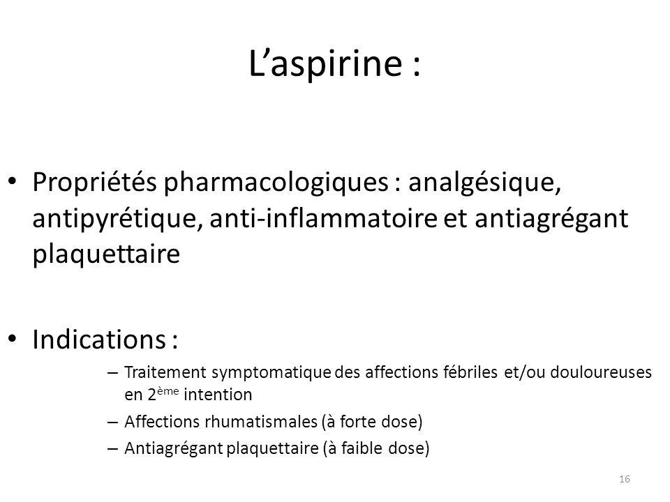 Laspirine : Propriétés pharmacologiques : analgésique, antipyrétique, anti-inflammatoire et antiagrégant plaquettaire Indications : – Traitement sympt