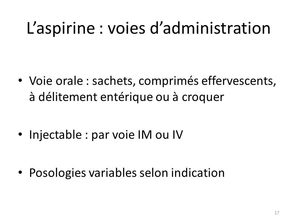Laspirine : voies dadministration Voie orale : sachets, comprimés effervescents, à délitement entérique ou à croquer Injectable : par voie IM ou IV Po