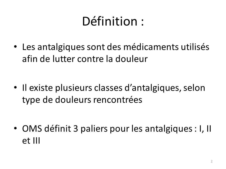 Définition : Les antalgiques sont des médicaments utilisés afin de lutter contre la douleur Il existe plusieurs classes dantalgiques, selon type de do