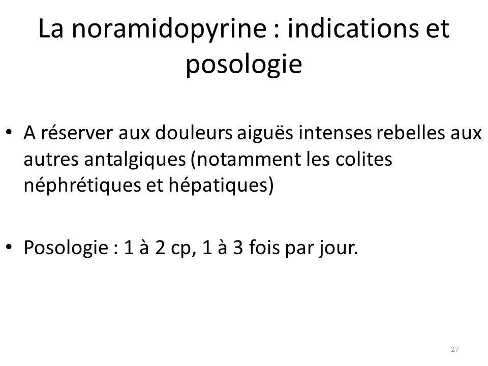 La noramidopyrine : indications et posologie A réserver aux douleurs aiguës intenses rebelles aux autres antalgiques (notamment les colites néphrétiqu