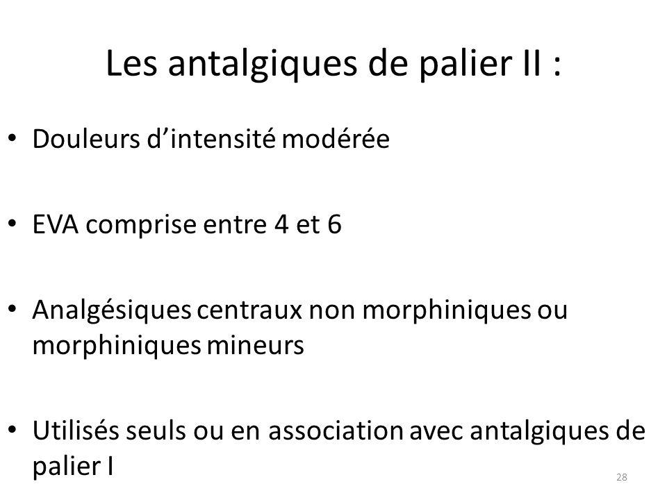 Les antalgiques de palier II : Douleurs dintensité modérée EVA comprise entre 4 et 6 Analgésiques centraux non morphiniques ou morphiniques mineurs Ut