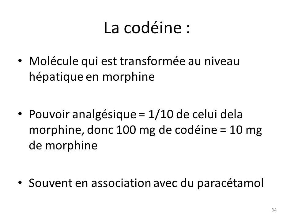 La codéine : Molécule qui est transformée au niveau hépatique en morphine Pouvoir analgésique = 1/10 de celui dela morphine, donc 100 mg de codéine =