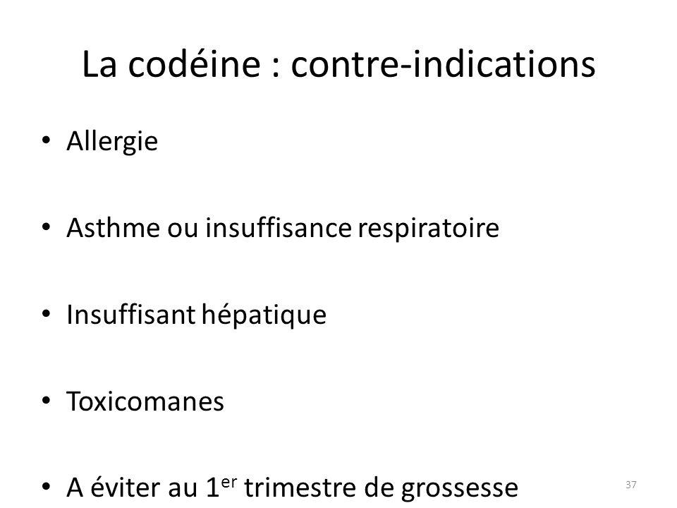 La codéine : contre-indications Allergie Asthme ou insuffisance respiratoire Insuffisant hépatique Toxicomanes A éviter au 1 er trimestre de grossesse